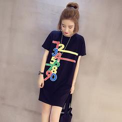lilygirl - Short-Sleeve Printed T-Shirt Dress