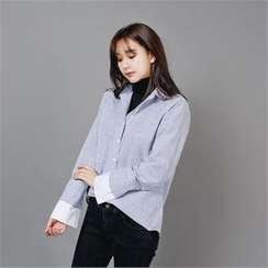 Styleberry - Contrast-Cuff Stripe Shirt