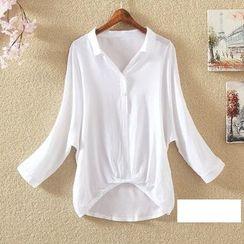 Clementine - Plain Batwing Sleeve Shirt