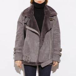 Heynew - Buckled Fleece-lined Biker Jacket