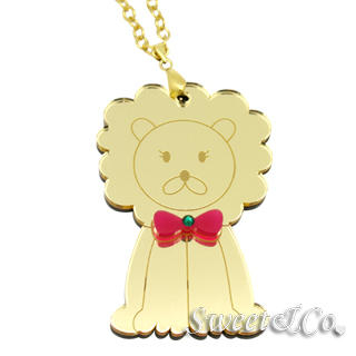 Sweet & Co. - XL Bowtie Lion Swarovski Mirror Gold Necklace