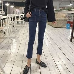 MePanda - Pocketed Boot Cut Jeans