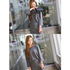 BBAEBBAE - Set: 3/4-Sleeve Oversized Top + Midi Skirt