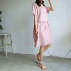 Hello sweety - Linen Blend A-Line Dress