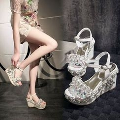 Charming Kicks - Embellished Wedge Sandals
