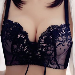 HYG Lingerie - Set: Lace Embroidery Wireless Lace-Up Bra+Panties
