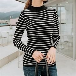 JOAMOM - Mock-Neck Striped Knit Top