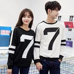 Azure - Couple Matching Numbering Pullover