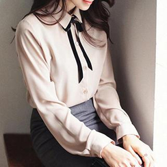 Eva Fashion - Tie-Neck Chiffon Blouse