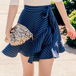 chuu - Pinstripe Ruffled Wrap Skirt