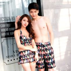 Sweet Splash - Couple Matching Patterned 2-piece Swimdress / Swim Shorts