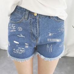 Fancy Show - Fray-Hem Printed Denim Shorts