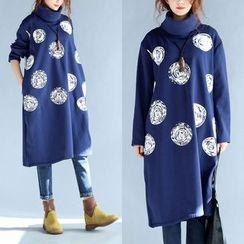 Taragon - High Neck Long-Sleeve T-Shirt Dress