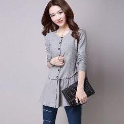 Romantica - Paneled Buttoned Knit Cardigan
