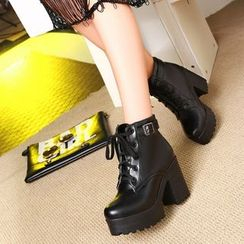 YOUIN - Chunky-Heel Platform Buckled Ankle Boots