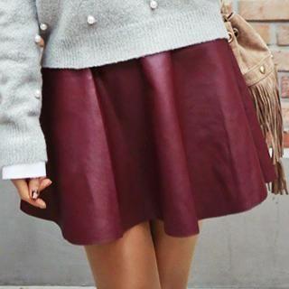 Rita Zita - Faux Leather A Line Mini Skirt