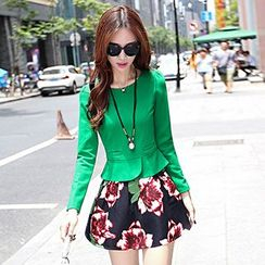 Romantica - Set: Peplum Top + Flower-Print Skirt
