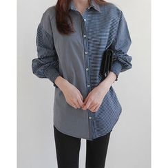 NIPONJJUYA - Smock-Cuff Asymmetric Stripe Shirt