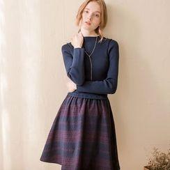 Tokyo Fashion - Knit Panel A-Line Dress