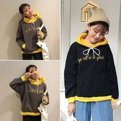 Lokin - Letter Embroidered Color Panel Hoodie