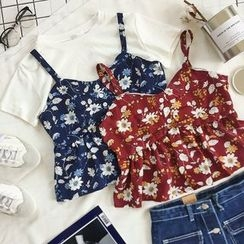 CaraMelody - Floral Print Bustier Top