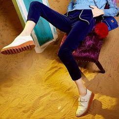 ELF SACK - Contrast-Trim Velvet Pants