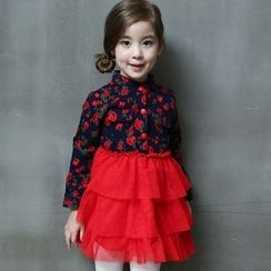 Spring Swallow - Kids Long-Sleeve Floral Dress