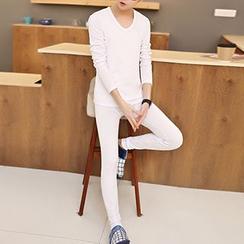 Blueforce - 套裝: 長袖V領T恤 + 內搭褲