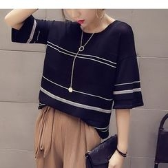 HazyDazy - Striped Elbow Sleeve Knitted T-Shirt