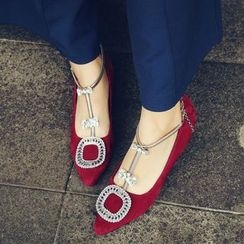 JY Shoes - Rhinestone Buckle T-Strap Pointy Flats