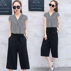EFO - Set: Striped Blouse + Wide-Leg Pants