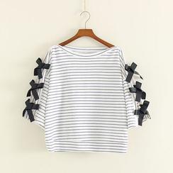 Mushi - Bow Stripe 3/4-Sleeve T-Shirt