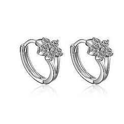 BELEC - 925 Sterling Silver with White Cubic Zirconia Flower Earrings