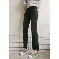 GOROKE - Cutout-Hem Washed Straight-Cut Jeans