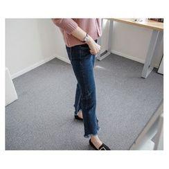 demavie - Frayed-Hem Boot-Cut Jeans