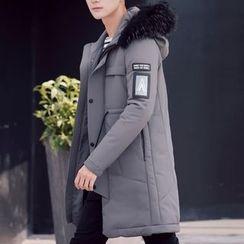 Bay Go Mall - Furry Trim Long Down Coat