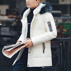 Bay Go Mall - Furry Trim Hooded Down Coat