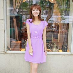 Loverac - Short-Sleeve Tie Waist Chiffon Dress