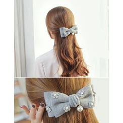soo n soo - Flower Appliqué Bow Hair Barrette