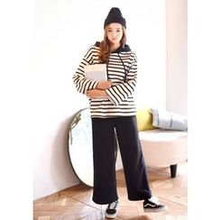 DEEPNY - Set: Striped Hooded Top + Wide-Leg Sweat Pants