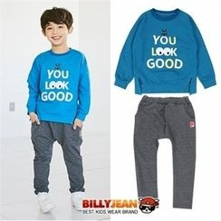 BILLY JEAN - Boys Set: Lettering Sweatshirt + Cotton Pants