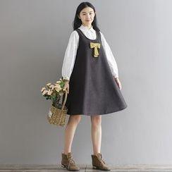 巧妮兒 - 蝴蝶結飾無袖連衣裙