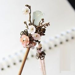 Green Finch - Ancient Style Jade Flower Hair Stick