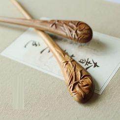 Green Finch - Wooden Hair Stick