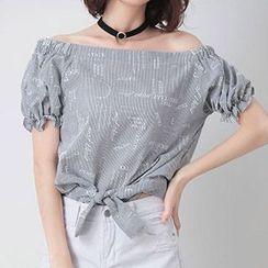 Nimill - Striped Lettering Off Shoulder Short Sleeve Top