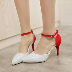 CITTA - Two Tone Ankle Strap Pumps