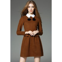 Y:Q - Pompom-Accent Collared Wool Dress