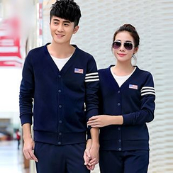 Lovebirds - Set: Couple V-Neck Jacket + T-Shirt + Pants