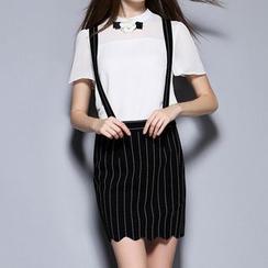 Merald - Set: Corsage Short Sleeve Blouse + Striped Jumper Skirt