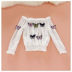 Daina - Off Shoulder Butterfly Chiffon Blouse